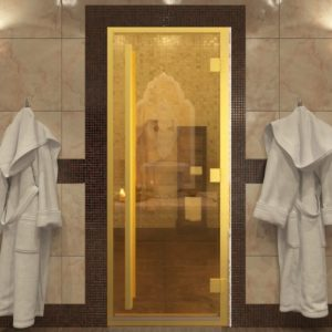 Дверь для хамама стекло золото серия Престиж